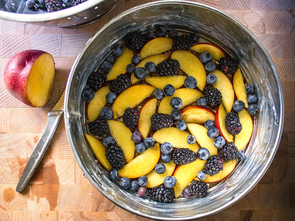 "Literary recipe: Nectarine and berry upside-down cake inspired by ""1Q84"" via @paperplatesblog"