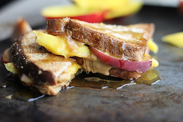 GRILLED PEANUT BUTTER, MANGO, & PEACH SANDWICHES