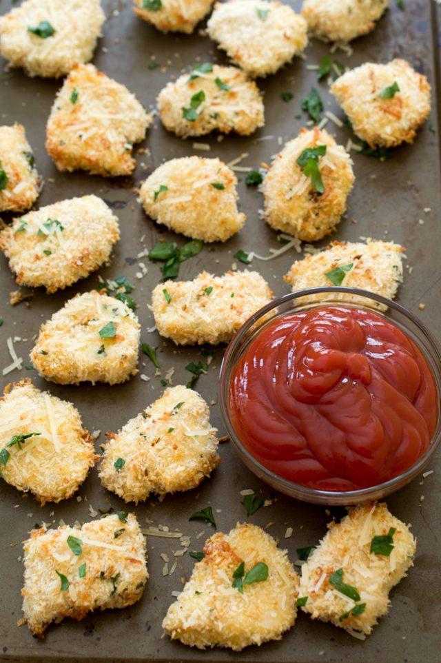 Baked Parmesan Garlic Chicken Nuggets