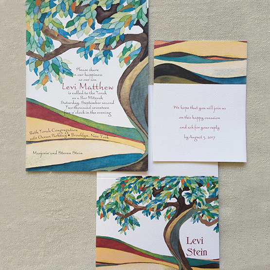 Tree of Life Cerulean Bar and Bat Mitzvah Invitation