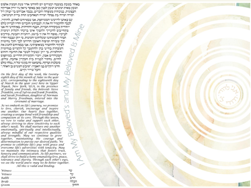 Michele Shell Rummel Concentric Circles Ketubah