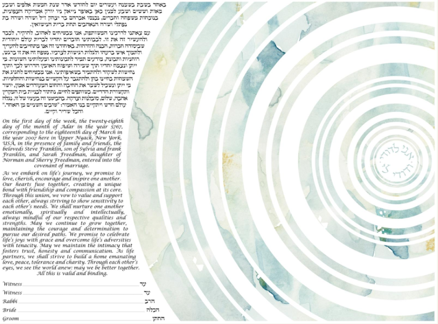 Michelle Shell Rummel Concentric Circles ketubah