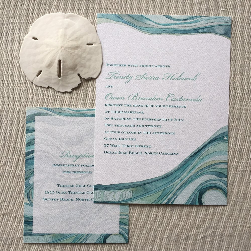 Shell Rummel watecolor wedding invitations