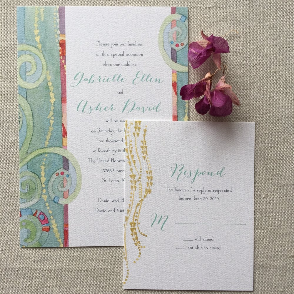 Shell Rummel watercolor wedding invitations