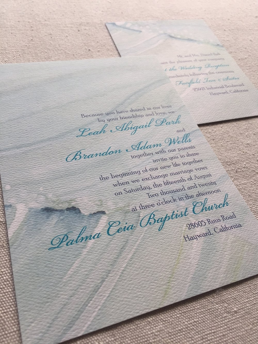 Shell Rummel modern coastal watercolor wedding invitations