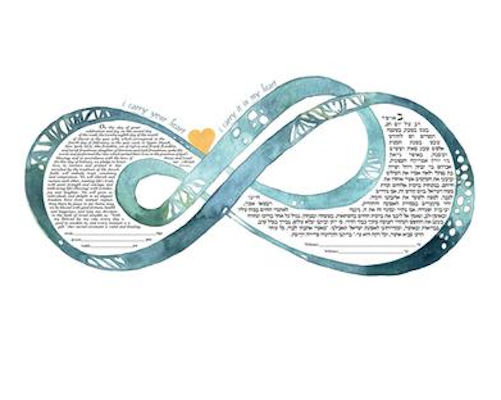 Double Infinity i carry your heart Ketubah Turquoise