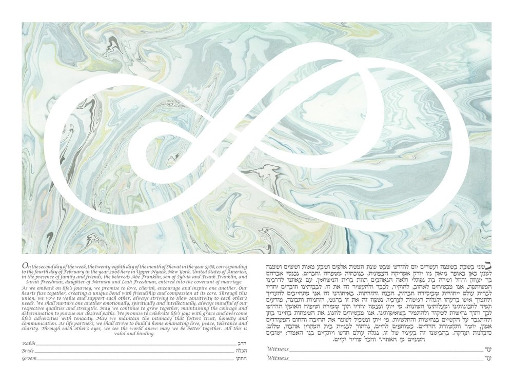 Infinity of Love - Suminagashi Ketubah by Artist Shell Rummel