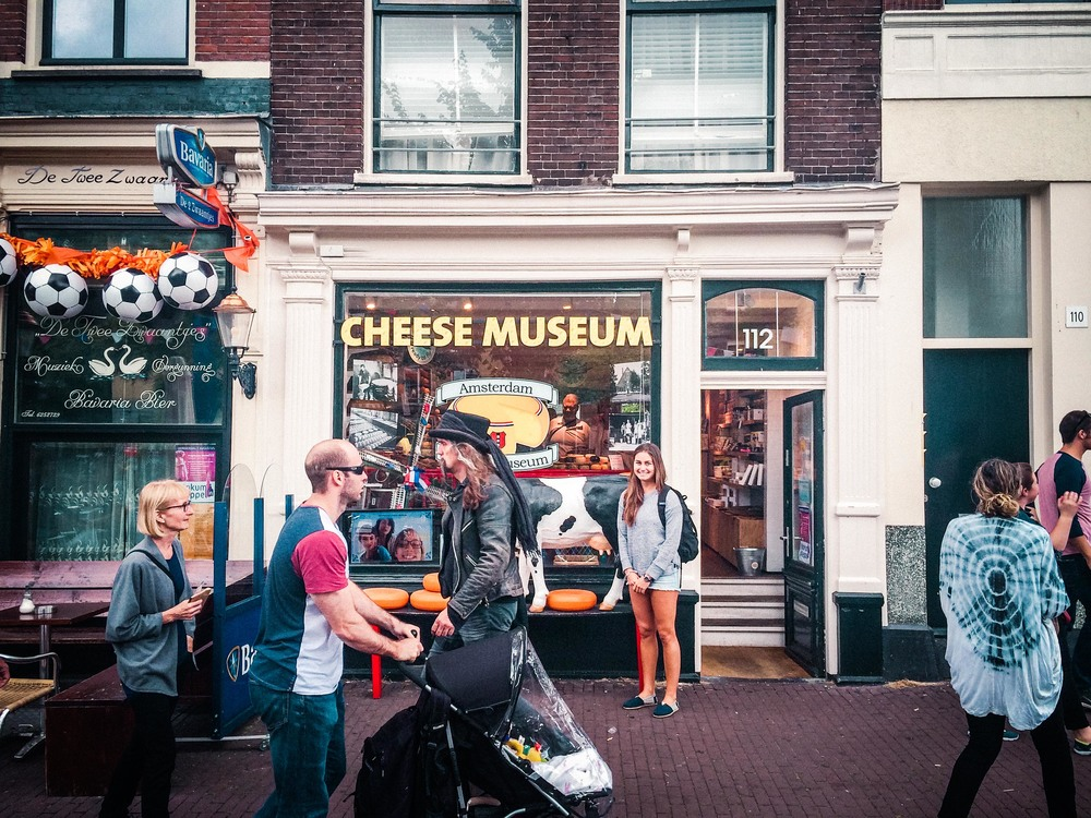 Cheese. I had no idea Gouda was a place in Amsterdam. The Dutch are very proud of their cheese making heritage. There were cheese shops everywhere, all with free samples. Free samples. Haley and I were ok with that.
