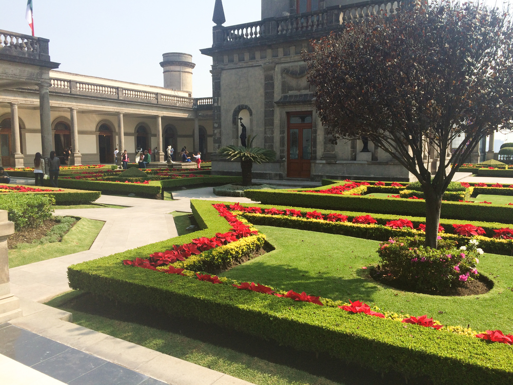 The opulent gardens at Chapultepec Castle.