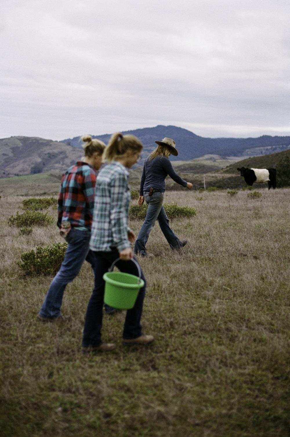 Ruth, Johanna, and Doniga walking back from the pig area. - Half Moon Bay, CA