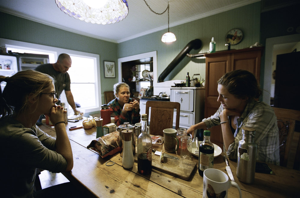 Johanna, Erik, Ruth, and Suey take lunch. -San Gregorio, CA