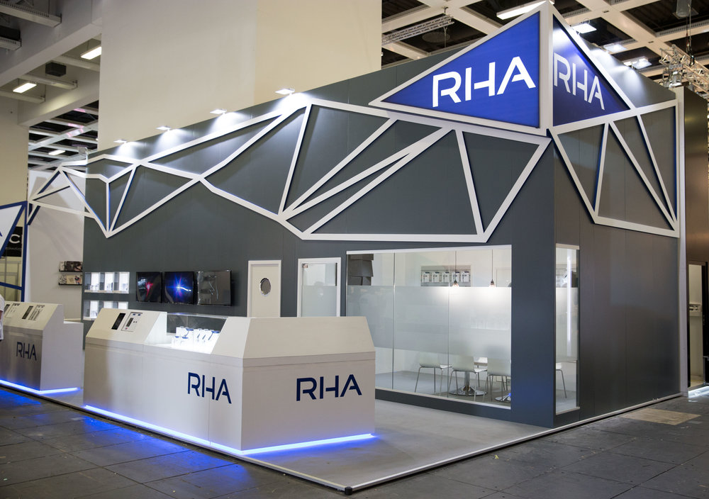 RHA's new stand at IFA mixes the new brand colours, different visualisations of audio and a core focus on product and material quality.