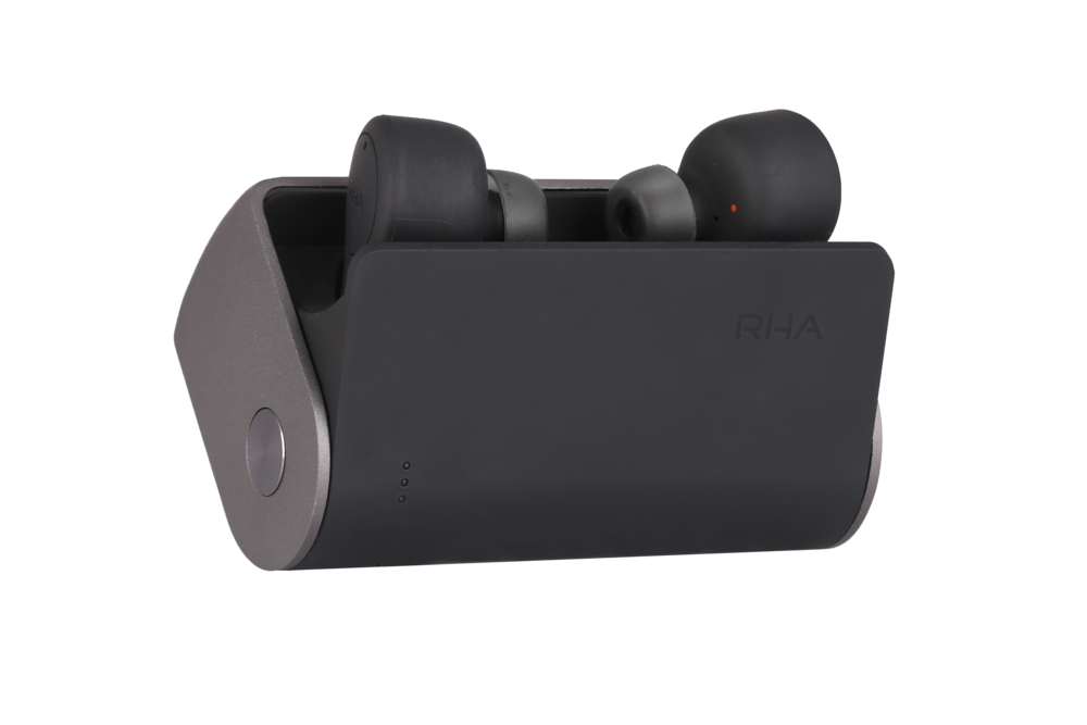 RHA TrueConnect charging case open with earphones angled.png