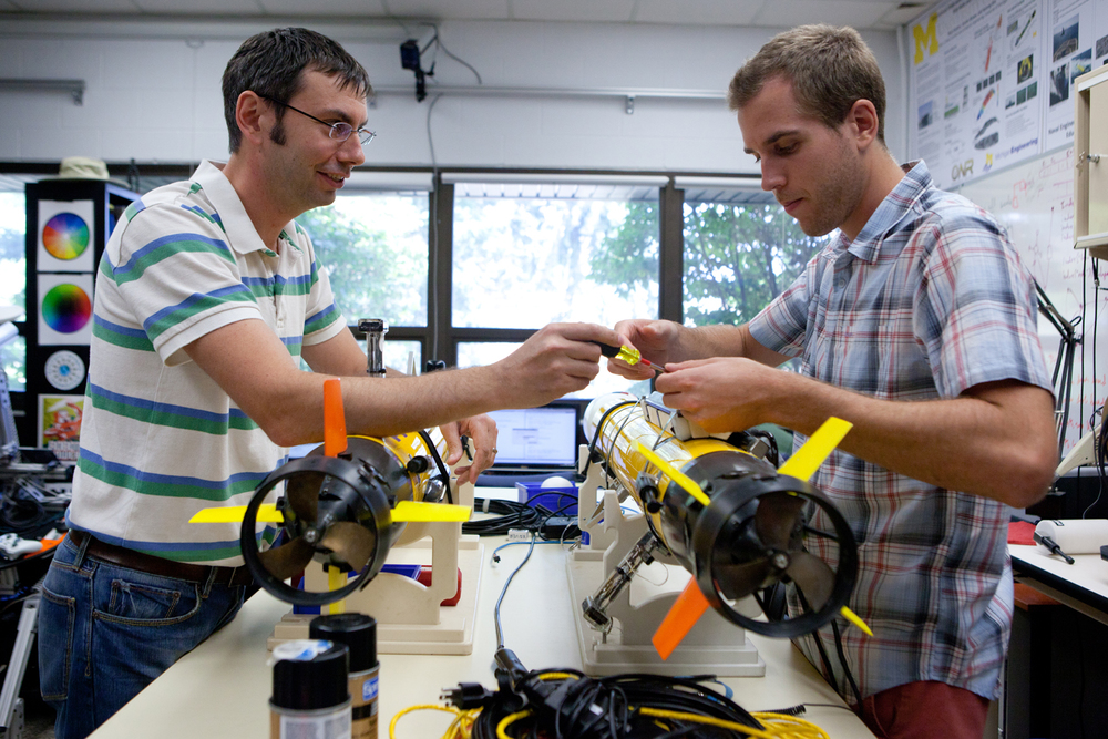 Professor Ryan Eustice and grad student Jeff Walls work in the Perceptual Robotics Laboratory studying problems related to autonomous navigation and mapping for mobile robots in a priori unknown environments. The goal of this work is to enable robots with the ability to autonomously navigate and map their environment, recognizing previously visited places much as a human would.