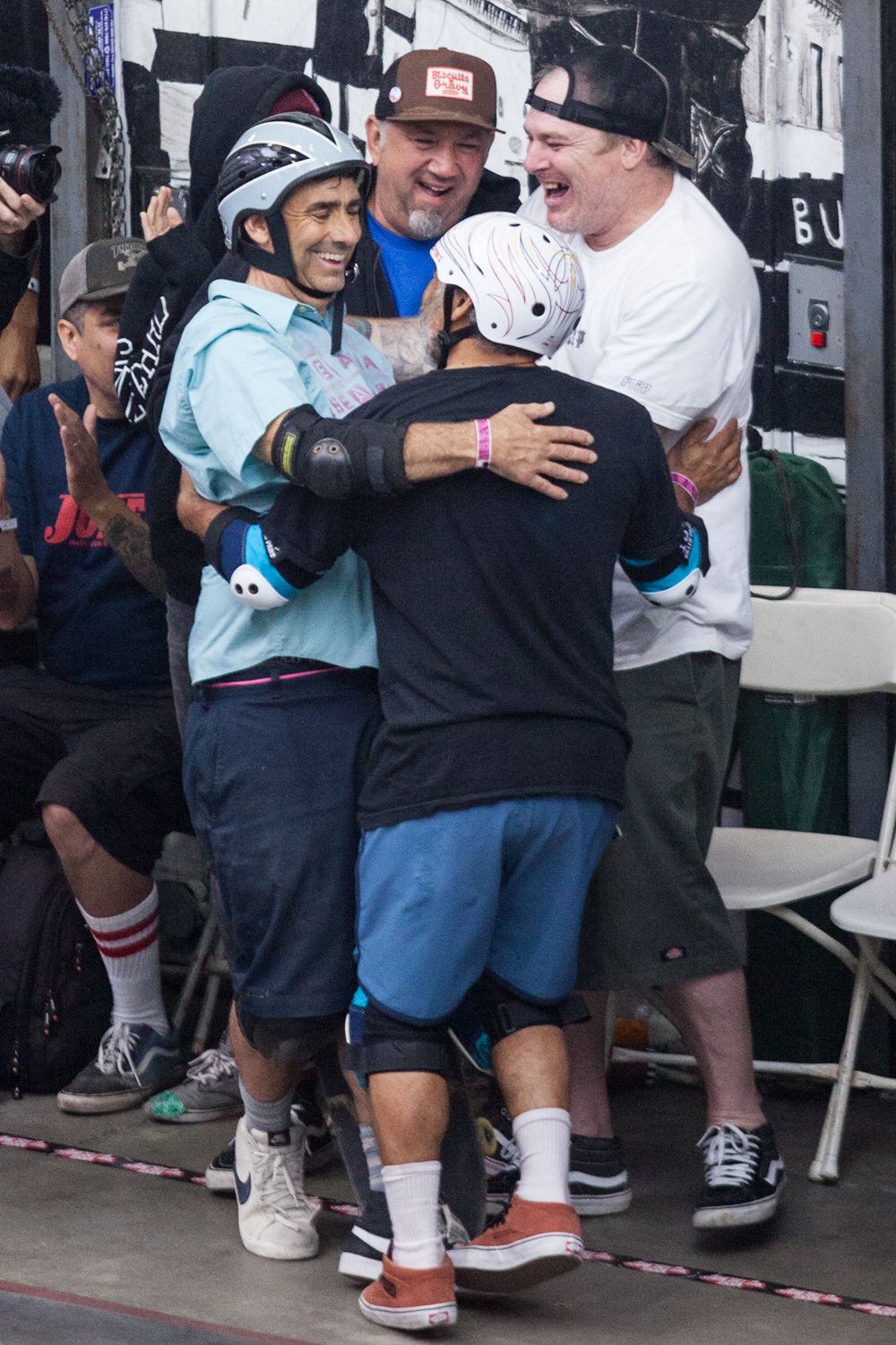 Steve Caballero and Jeff Grosso congratulate Lance Mountain after his winning run  - Vans Pool Party