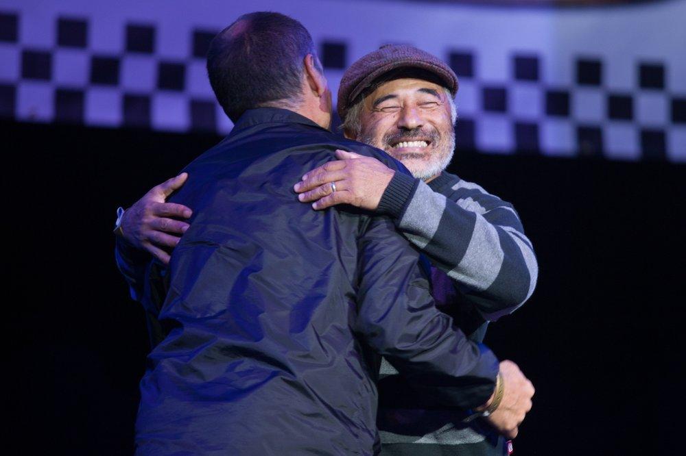 Steve Caballero hugs Mike McGill