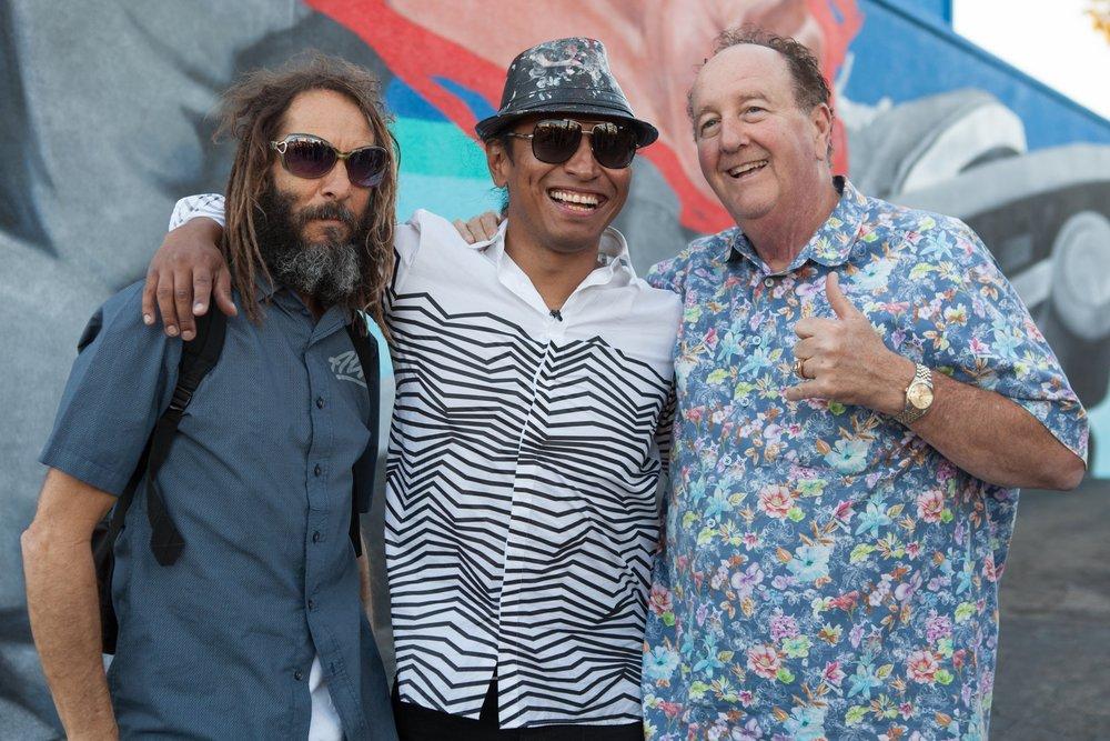 Tony Alva, Robert Vargas, Steve VanDoren at the unveiling of Robert's mural, Warrior Odyssey, at The Kinney Venice Beach