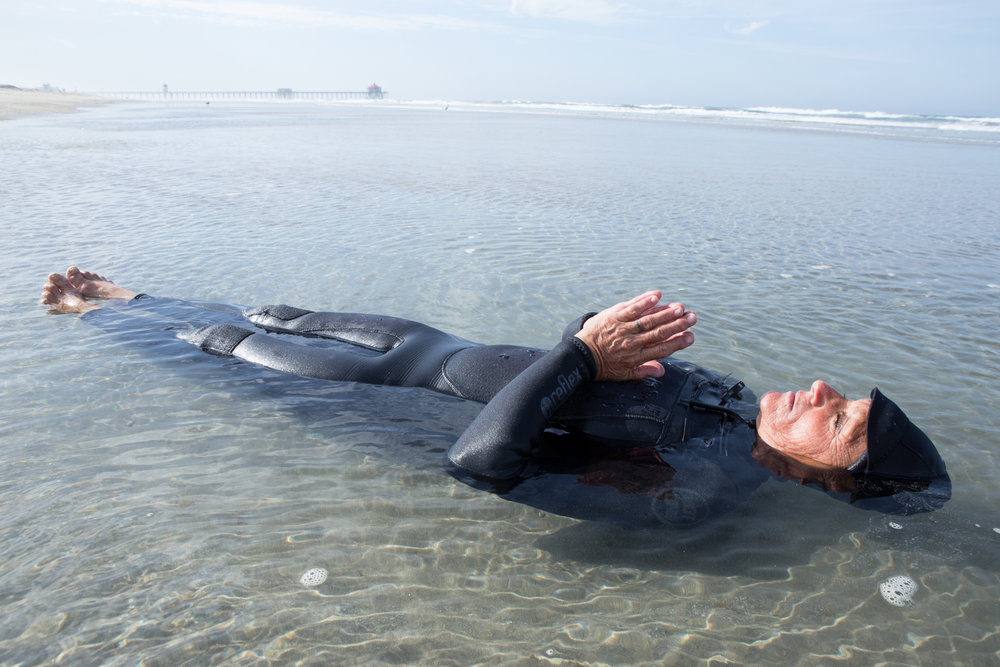 "Kim Hamrock ""Danger Woman"" - pre-surf meditation Huntington Beach"