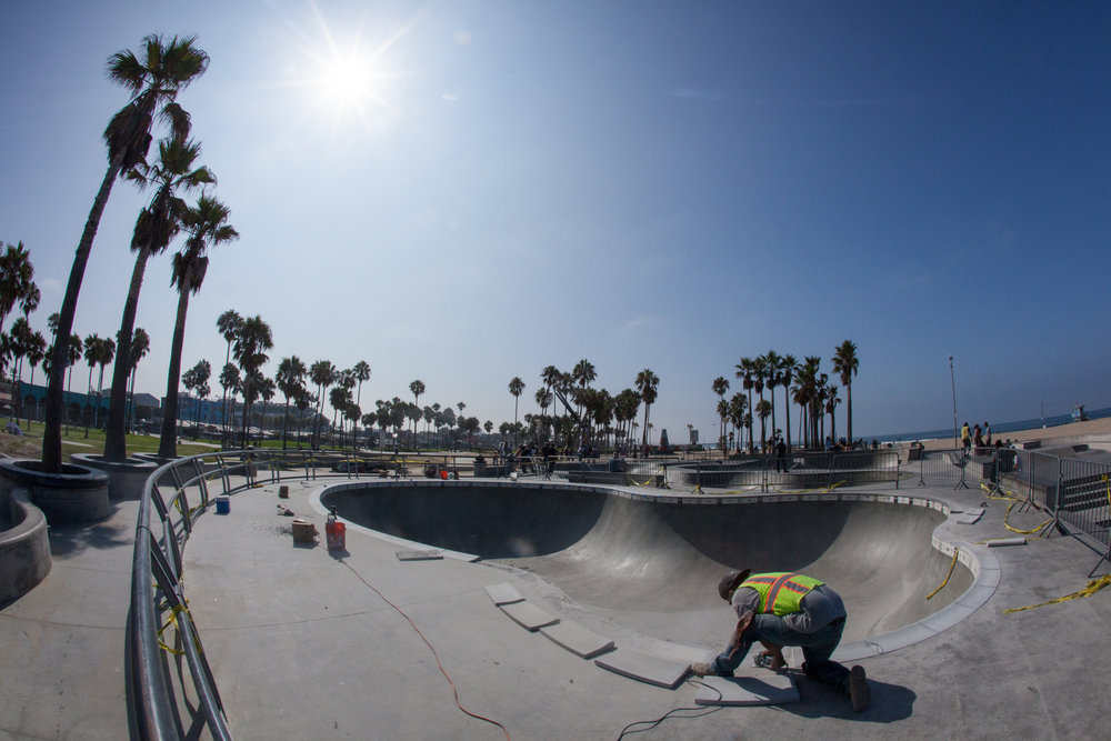 Replacing the original coping at Venice Skatepark, after it was damaged by vandals.