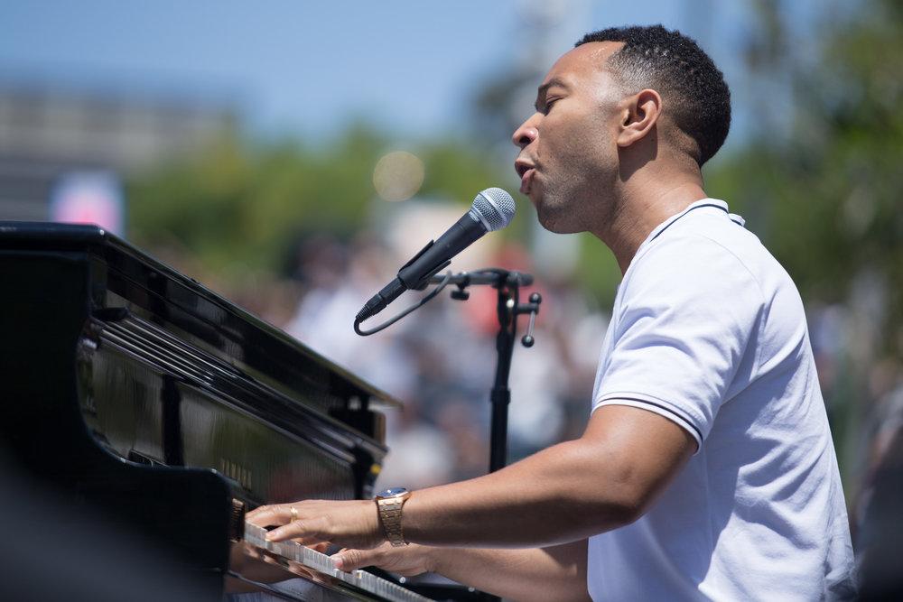 "John Legend singing Marvin Gaye's ""What's Goin' On?"" at the Families Belong Together March - DTLA"