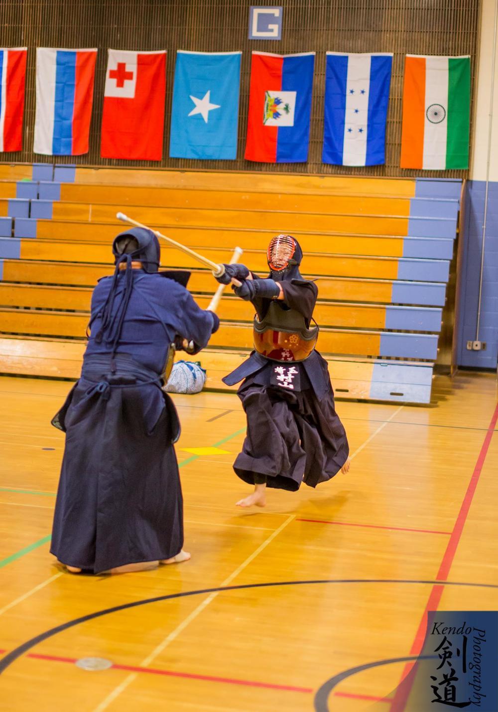 At the seminar: Murayama sensei practicing with Marsten sensei (PNKF)  Photo by event photographer Kendo Photography (Seattle).