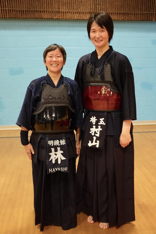 Reiko with Murayama sensei. FYI, she is about 6 feet tall.  Photo by Shishido.