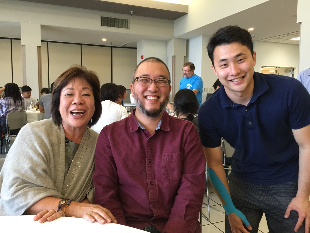 At the after-tournament banquet: Gayle, me (Shishido), and James Okada. James started at Kenshikan Kendo Club when he was about 5 or 6 years old. Now he is around 25 years old and living in Seattle.  Photo by Hayashi.