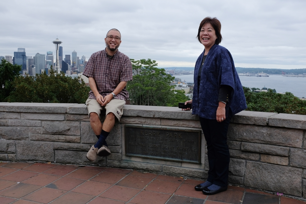 Most of the seminar practices were held in the evening so we had most of the days free for short excursions. Here we are looking at the famous Seattle skyline from a nearby park.  Photo by Reiko.