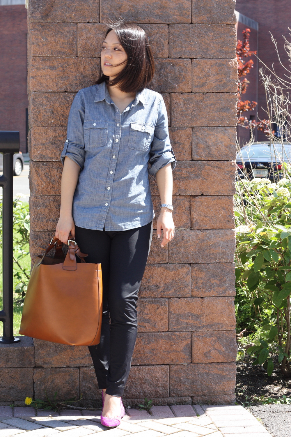 chambray shirt: jcrew, pants: from a boutique in korea, bag: zara, shoes: enzo angiolini