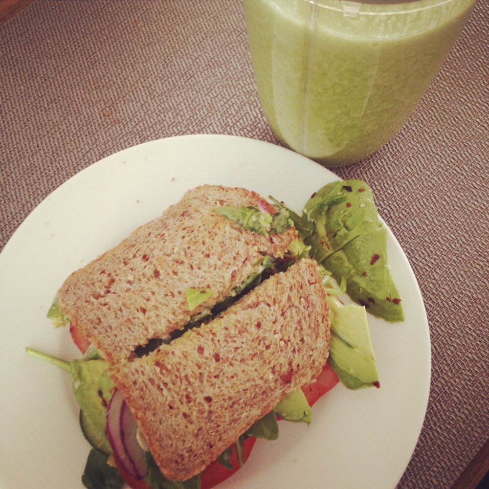 my favorite  veggie sandwich  + green juice