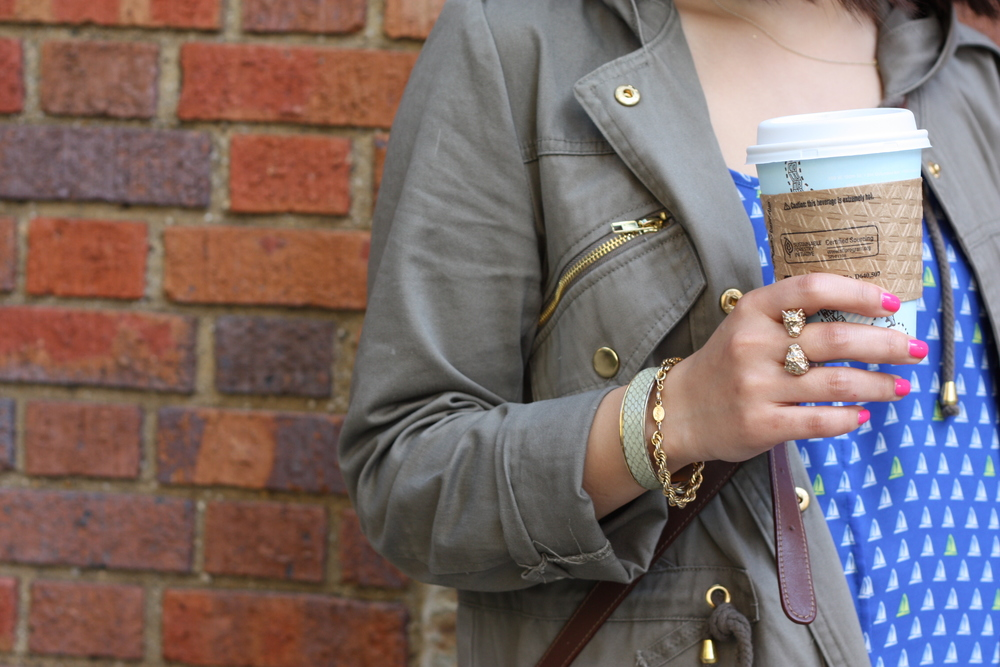 bracelets: vintage and gifted, ring: H&M, nails: essie lights cupofjoe: joe's (haha)