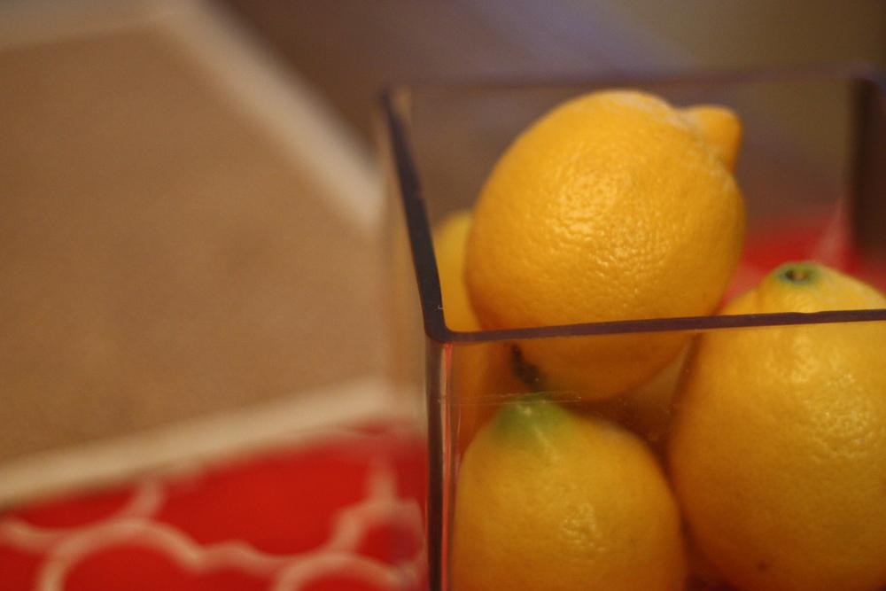 lemons: a staple. in pasta, salad, dressing, juice, water.
