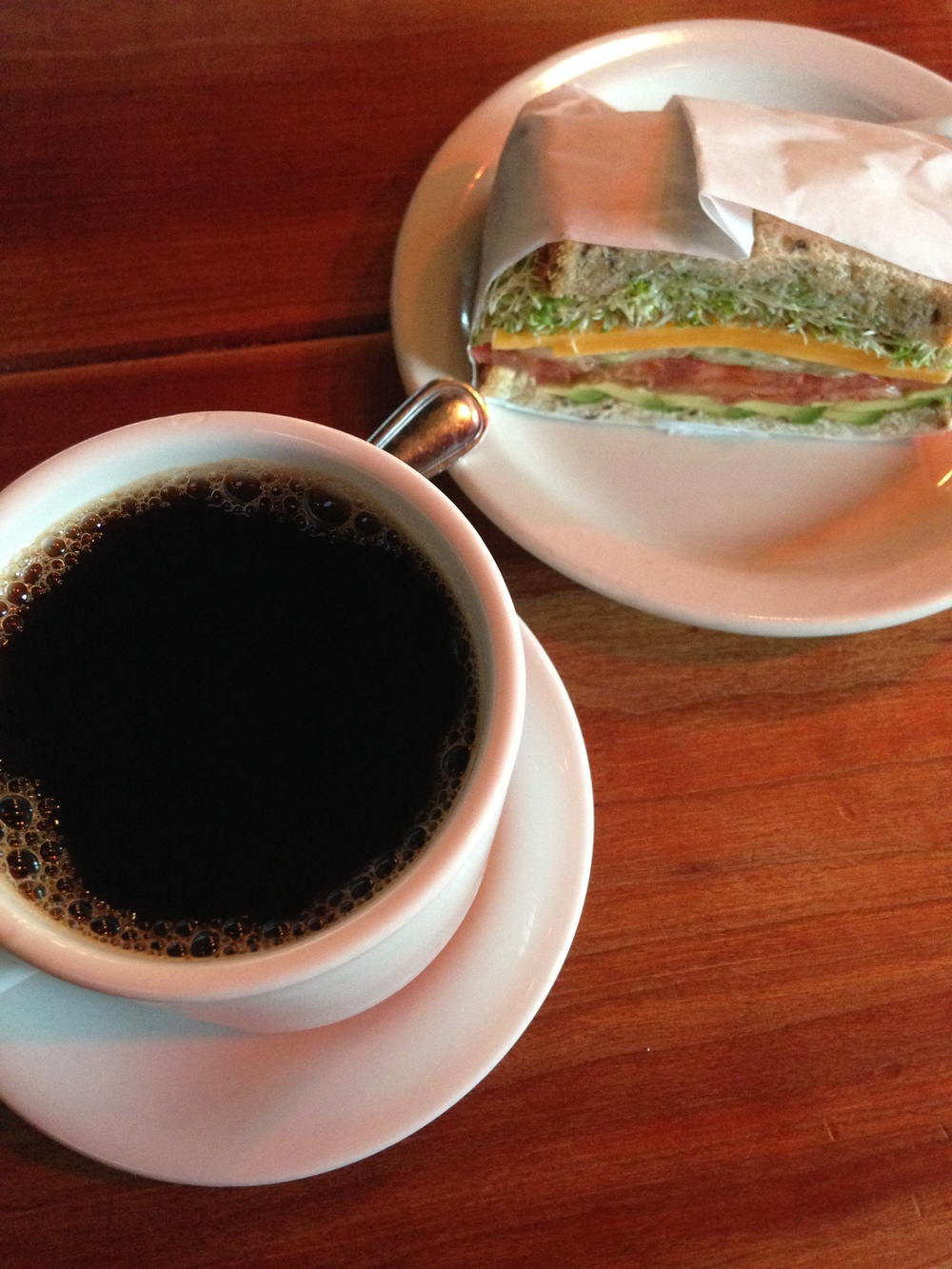 a quiet moment after work at a favorite cafe. a yummy veggie sandwich & hazelnut coffee are good companions for a work session.