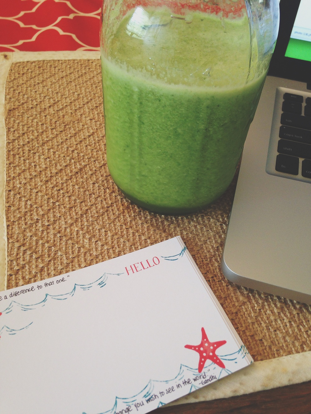 writing a card to each of my student leaders with a jar full of green juice