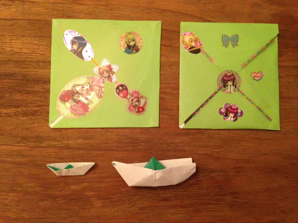 My sweet little cousin in Korea wrote me notes and made me origami boats. She gave them to my parents to bring to me.