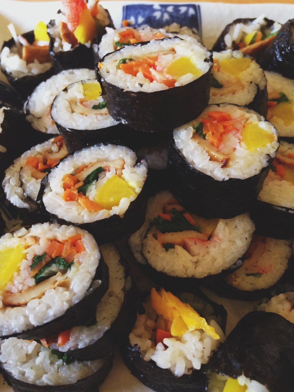 Kimbap my mother-in-law made for us during our visit to Virginia. Colorful mosaic.