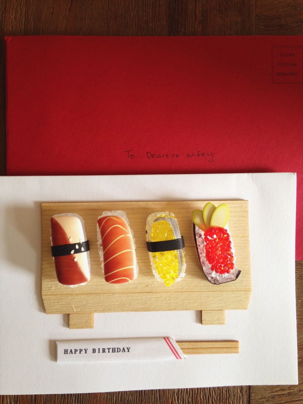 The coolest sushi birthday card. My husband knows me so well.