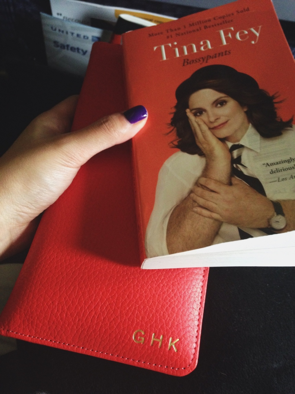 Accompanied by my beautiful passport case (thanks Y!) and Tina Fey's hilarious and insightful  Bossypants