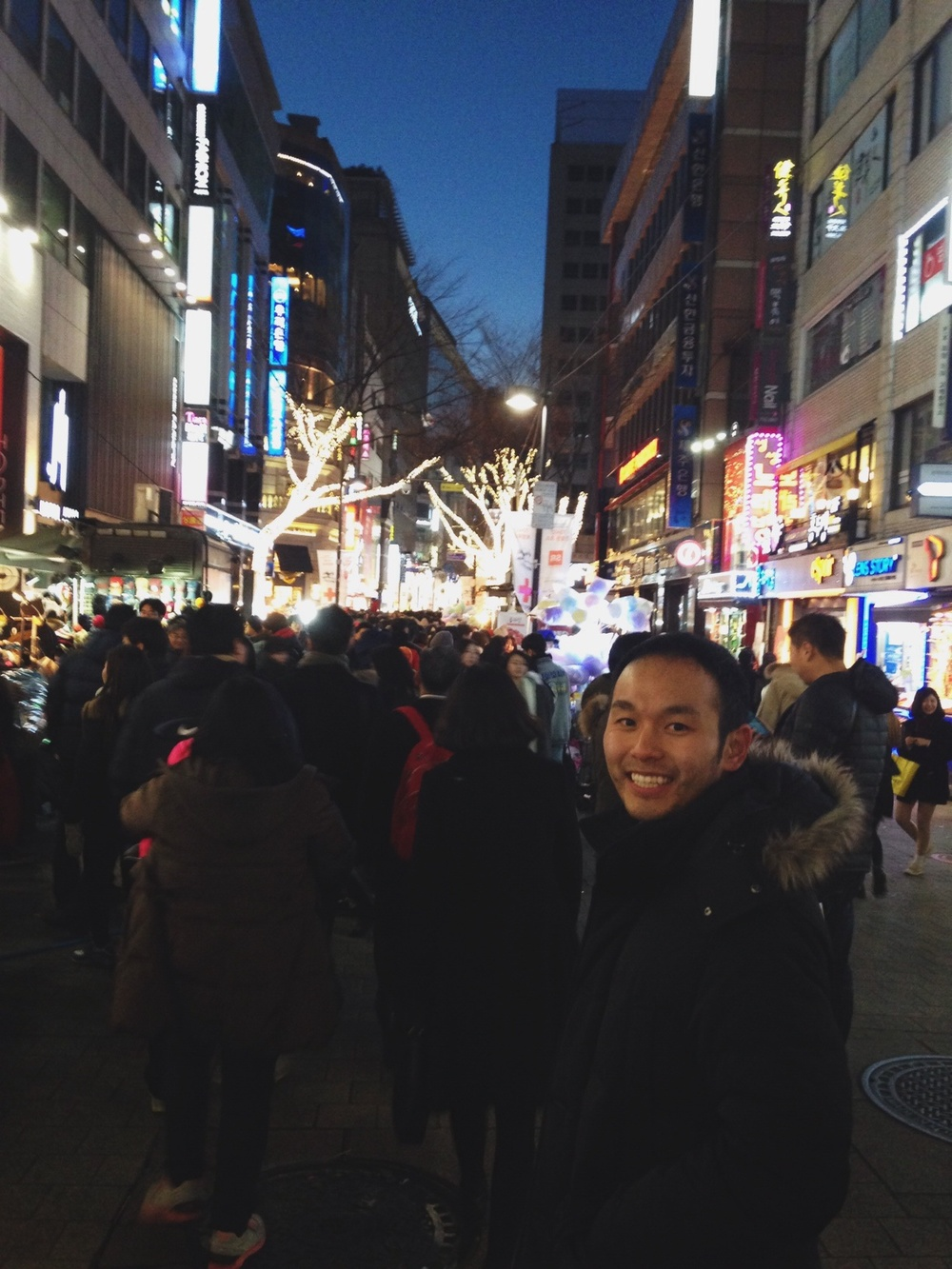 The packed streets of Myeongdong on Christmas day!