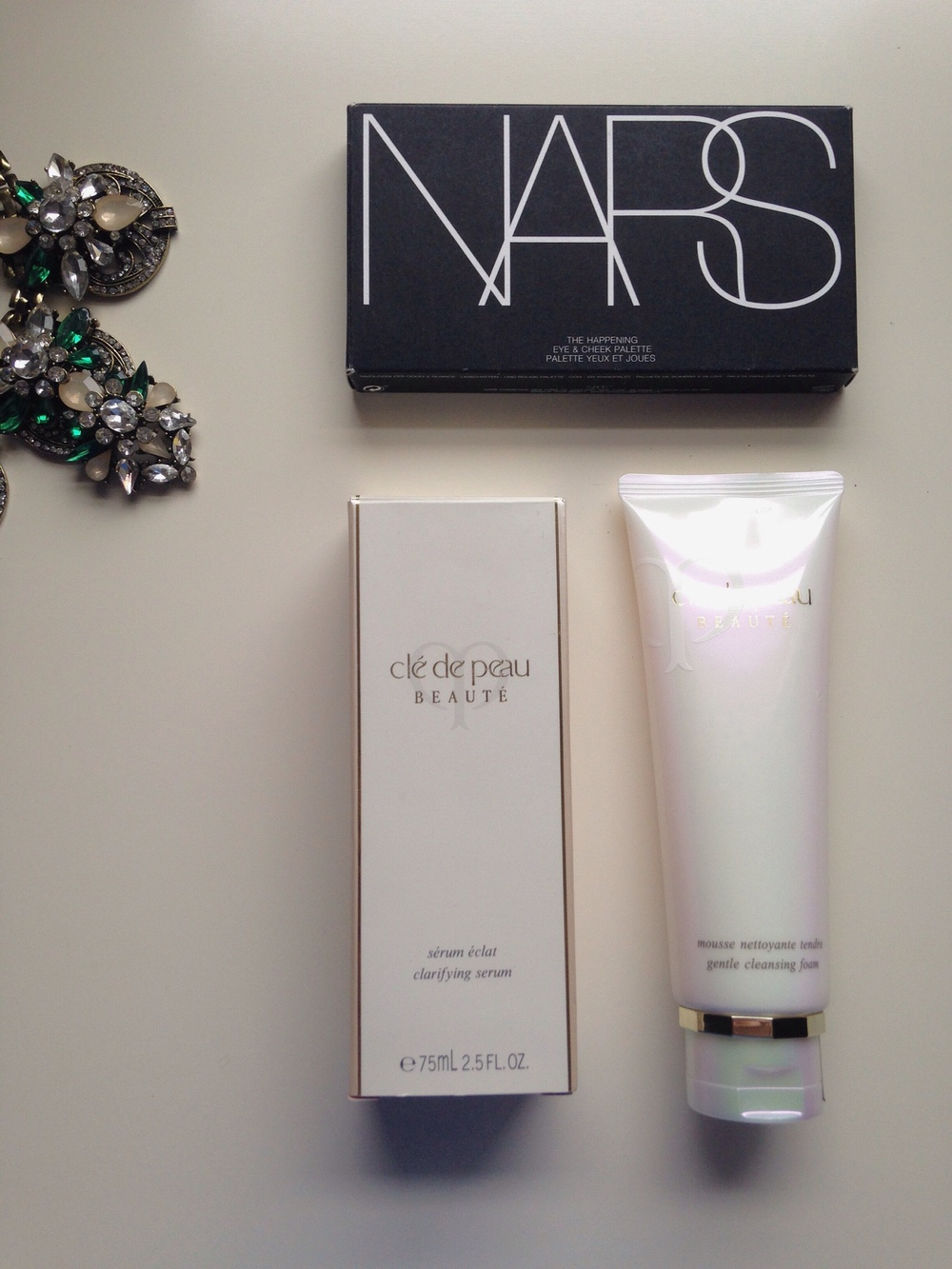 NARS The Happening Palette; Cle de Peau Clarifying Serum; Cle de Peau Gentle Cleansing Foam