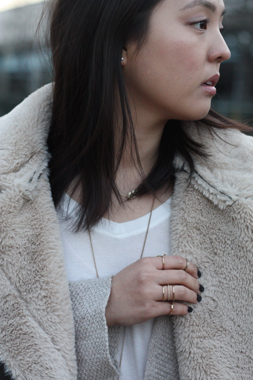 Rings:  SHH Jewelry , Urban Outfitters, various vendors; Necklaces:  Celestine Jewelry , Forever21