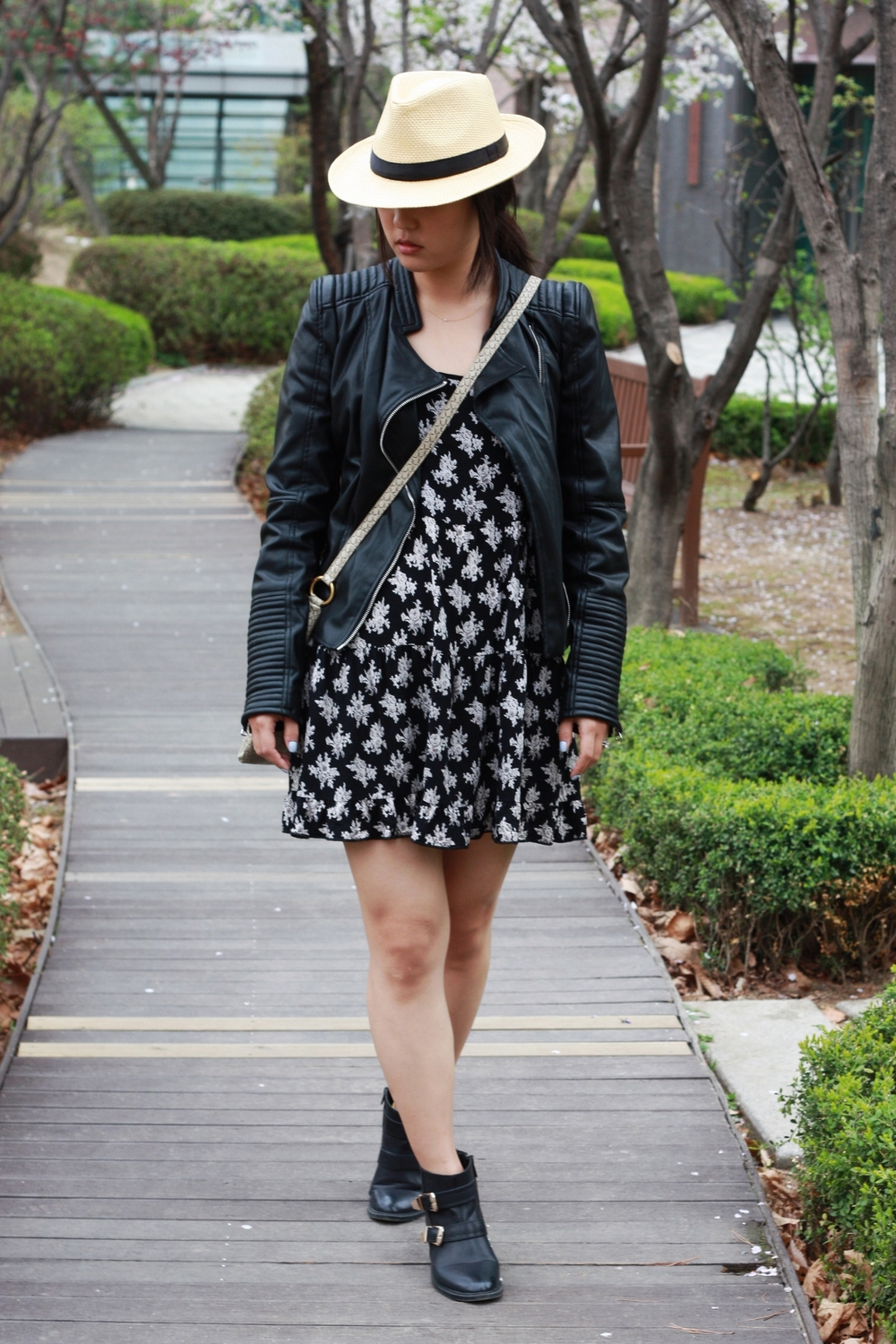 Jacket: Zara, Dress: TJ Maxx, Booties: DSW, Bag: Marc by Marc Jacobs, Hat: Flea Market