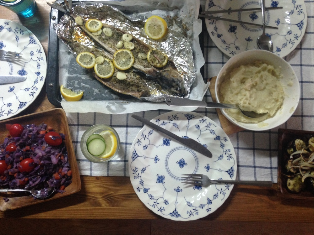 "Dinner @""The Garden"": Grilled fish, sauteed cabbage and tomatoes, cauliflower, and mashed potatoes"