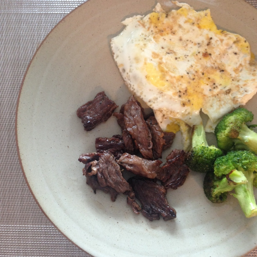 A hearty lunch: Skirt steak, broccoli and eggs over-easy (I told you, a lot of eggs...)