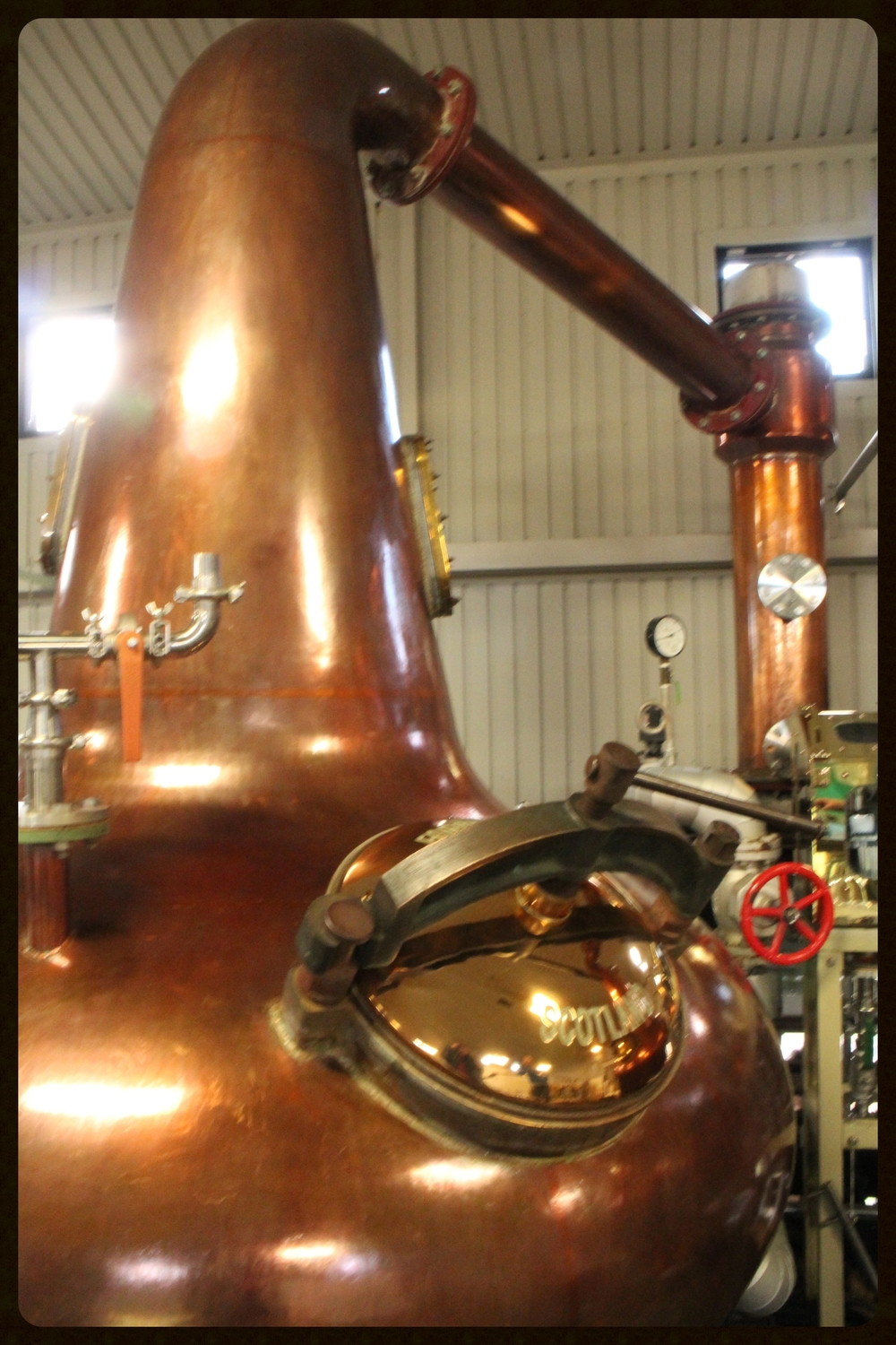 Still, lyne arm and condenser at Chichibu Distillery, Japan.