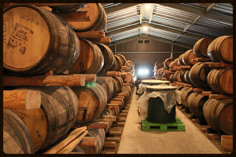Traditionally stacked casks at Chichibu Distillery, Japan.