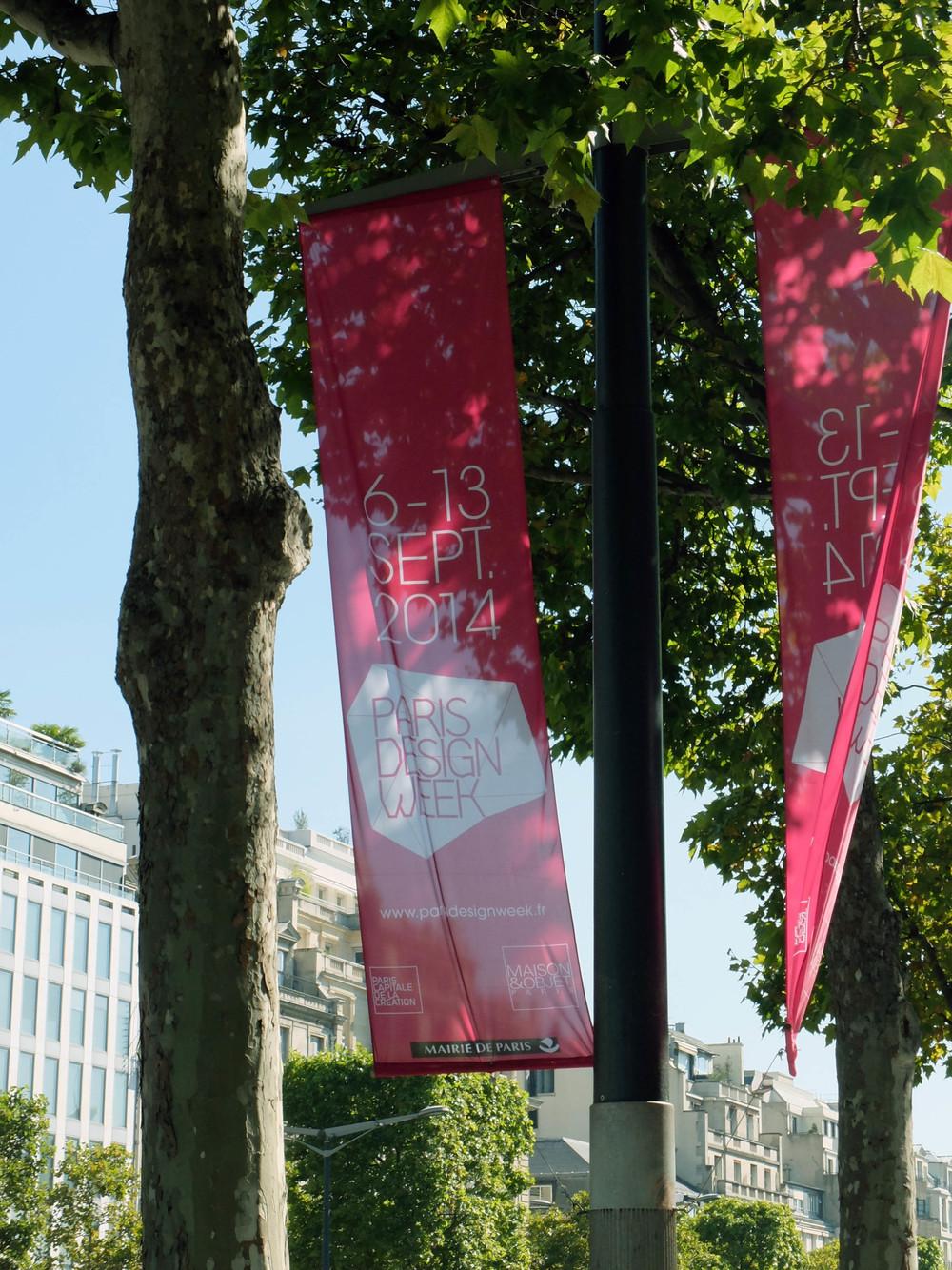Paris Design Week signage on the Champs Elysees (oh la la!)
