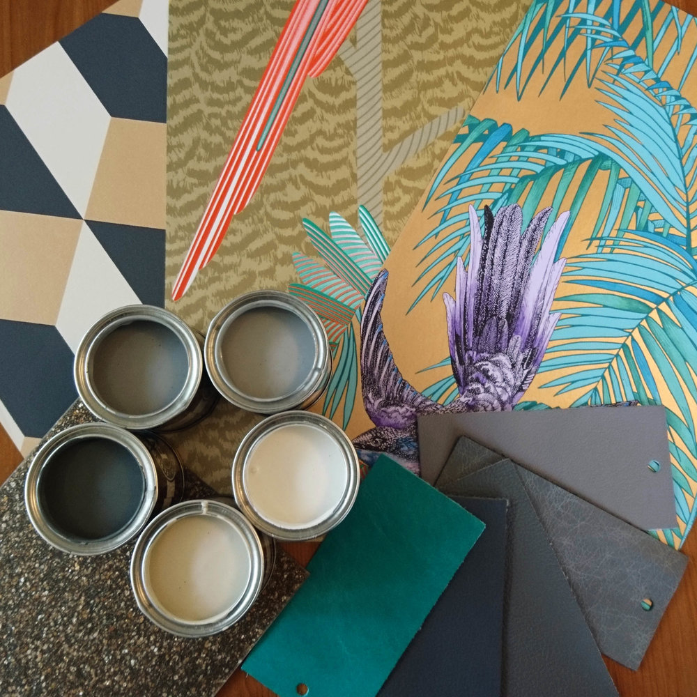 Collecting paint, wallpaper, flooring and leather upholstery samples for a client