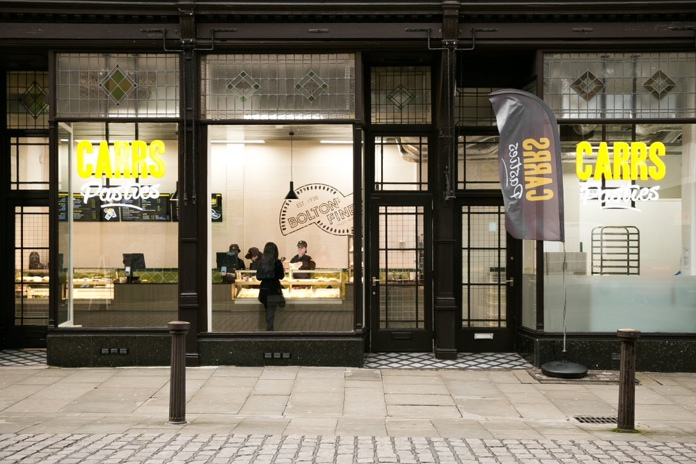 Carrs Pasties - old meets new with a sleek, welcoming design for a listed shopfront