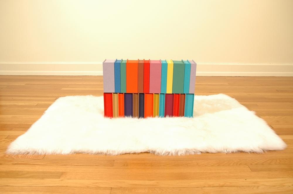 "LbeOtrVayEal/AtrMahOosUinR; Bookdbinding Board, Fabric, Sheepskin Rug; 24"" x 6"" x 16""; 2005-06"